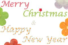 Merry Christmas and Happy New Year word from flower shaped fruit and vegetable. On white background vector illustration