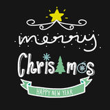 Merry Christmas and happy new year word illustration Royalty Free Stock Image