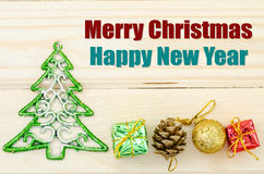 Merry Christmas and happy new year wording. Royalty Free Stock Image