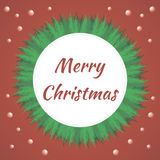 Merry Christmas. And Happy New Year wreath shape greeting card background Royalty Free Illustration