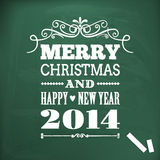Merry christmas and happy new year 2014 write on chlakboard Stock Photos