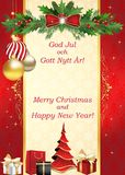 Merry Christmas and Happy New Year written in Swedish and English, season`s greeting card vector illustration