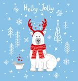 Merry christmas happy new year xmas greeting card with cute polar bear in cartoon forest on blue backgroud