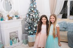 Merry Christmas and Happy New Year. xmas online shopping. Family holiday. Happy new year. Winter. The morning before. Xmas. Little girls. Christmas tree and royalty free stock photos