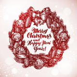 Merry Christmas and Happy New Year. Xmas wreath, garland sketch. Vector illustration Stock Photography