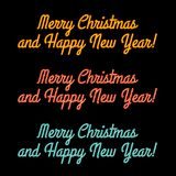 Merry Christmas and a Happy New Year Yellow, Red, Blue Glowing Neon Signs for Greeting Card, Banner, Poster, Brochure Stock Photography