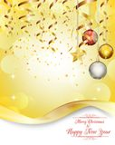Merry christmas and happy new year golden background with balls, star Stock Images