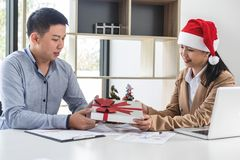 Merry Christmas and Happy New Year, Young business team are cele Stock Photography