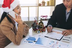 Merry Christmas and Happy New Year, Young business team are cele Royalty Free Stock Images