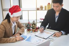 Merry Christmas and Happy New Year, Young business team are cele Stock Photo
