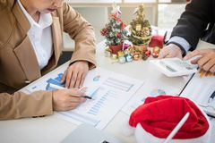 Merry Christmas and Happy New Year, Young business team are cele Royalty Free Stock Photography
