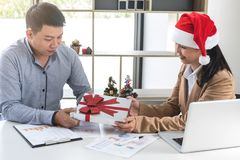 Merry Christmas and Happy New Year, Young business team are cele Stock Image