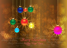 Merry christmas & happy new years background. Merry christmas & happy new years background with halo snowy ball and  text Stock Image