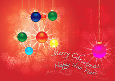 Merry christmas & happy new years background. Merry christmas & happy new years background with halo snowy ball and  text Royalty Free Stock Image