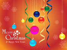 Merry christmas & happy new years background. Merry christmas & happy new years background with snowy ribbon ball and  text Royalty Free Stock Image