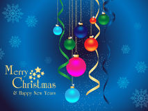 Merry christmas & happy new years background. Merry christmas & happy new years background with snowy ribbon ball and  text Stock Images