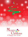 Merry christmas & happy new years background. Merry christmas & happy new years background with snowy christmas tree and  text Royalty Free Stock Images