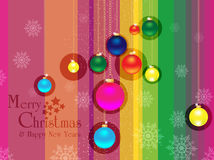 Merry christmas & happy new years background. Vector of Merry christmas & happy new years background with snowy christmas ball and text Stock Image