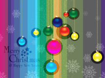 Merry christmas & happy new years background. Vector of Merry christmas & happy new years background with snowy christmas ball and text Stock Photography