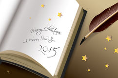 Merry Christmas and Happy new years 2015 Greeting. Merry Christmas and Happy new year 2014 Handwriting Greeting, vector illustration stock illustration