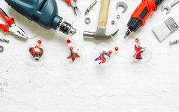 Merry Christmas and Happy New Years Handy Constrcution Tools background concept. Handy House Fix DIY handy tools with Christmas stock photography