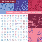 Merry Christmas and Happy new years. Linear icons set Royalty Free Stock Images
