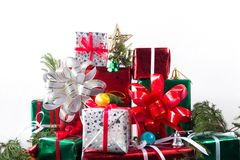 Merry christmas and happy newyear gift. In white background Stock Photography