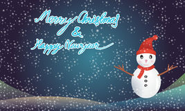 Merry christmas and happy newyear with snowman Stock Photos