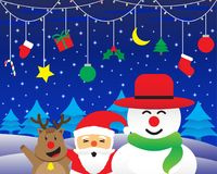 Merry Christmas - Happy Three Friends And Christmas Lights And Hanging Stuffs vector illustration