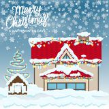 Merry Christmas Happy Winter Days Postcard. Merry Christmas and happy winter days wish on postcard with covered and snow house and Xmas tree near to it. Vector Royalty Free Stock Image