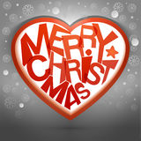 Merry christmas heart message with snow Stock Images