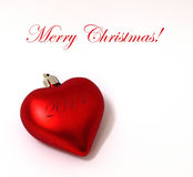 Merry Christmas heart ornament. A red christmas heart shaped ornament, with Merry Christmas title Stock Images