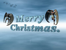 Merry Christmas in  heavenly sky with angels. Stock Photography