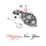 Merry Christmas hedgehog Stock Image