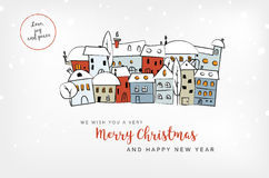 Merry Christmas and HNY card with abstract snowy village Royalty Free Stock Images