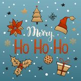 Merry christmas ho ho ho handwriting text with xmas decoration, poinsettia flower, pine tree, holly berry, ball, gift, box. Snowflake, snow Royalty Free Stock Images