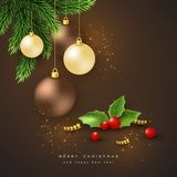 Merry Christmas holiday background. Merry Christmas holiday background with bauble, fir-tree and holly. Glitter glowing design, black background. Vector Royalty Free Stock Photos