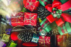 Merry Christmas holiday background concept. Closeup of red gift royalty free stock photos