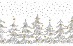 Christmas tree seamless pattern with snow. Hand drawing art stroke with silver, gold, white color. Merry christmas holiday background. Grunge texture fir-tree Royalty Free Stock Photos