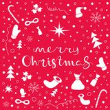 Merry Christmas Holiday background with set of Christmas things Royalty Free Stock Photography