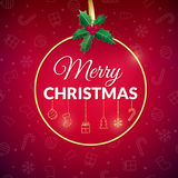 Merry Christmas . Holiday background. Xmas greeting card with bauble. Poster. Royalty Free Stock Photography