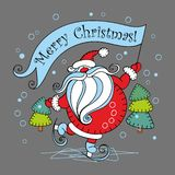 Merry Christmas. Holiday card. Santa Claus on skates.Vector illustration vector illustration