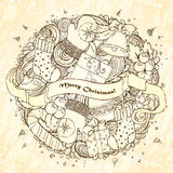 Merry Christmas holiday circle composition Royalty Free Stock Images