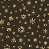 Merry Christmas holiday decoration effect. Golden snowflake seamless pattern. EPS 10 stock illustration