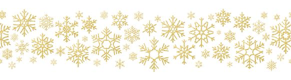 Merry Christmas holiday decoration effect. Golden snowflake seamless pattern. EPS 10 royalty free illustration