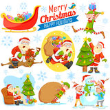 Merry Christmas Holiday design with Santa Calus, Elf and Snowman Royalty Free Stock Photo