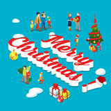 Merry Christmas holiday family fir flat 3d isometric vector Stock Images