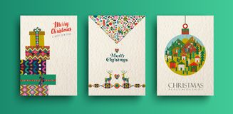 Merry christmas vintage folk card collection. Merry Christmas holiday folk art card collection. Template set of scandinavian style gift box pile,xmas tree and vector illustration