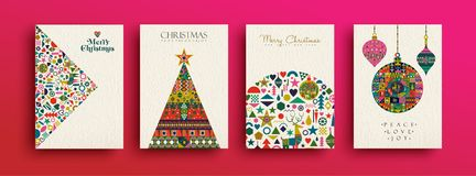 Merry Christmas retro folk art card collection. Merry Christmas holiday folk art card collection. Template set of scandinavian style xmas tree and traditional stock illustration