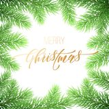 Merry Christmas holiday golden hand drawn quote calligraphy greeting card background template. Vector Christmas fir tree branch ga. Rland wreath decoration Royalty Free Stock Photography